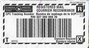 Canada Post Registered Mail