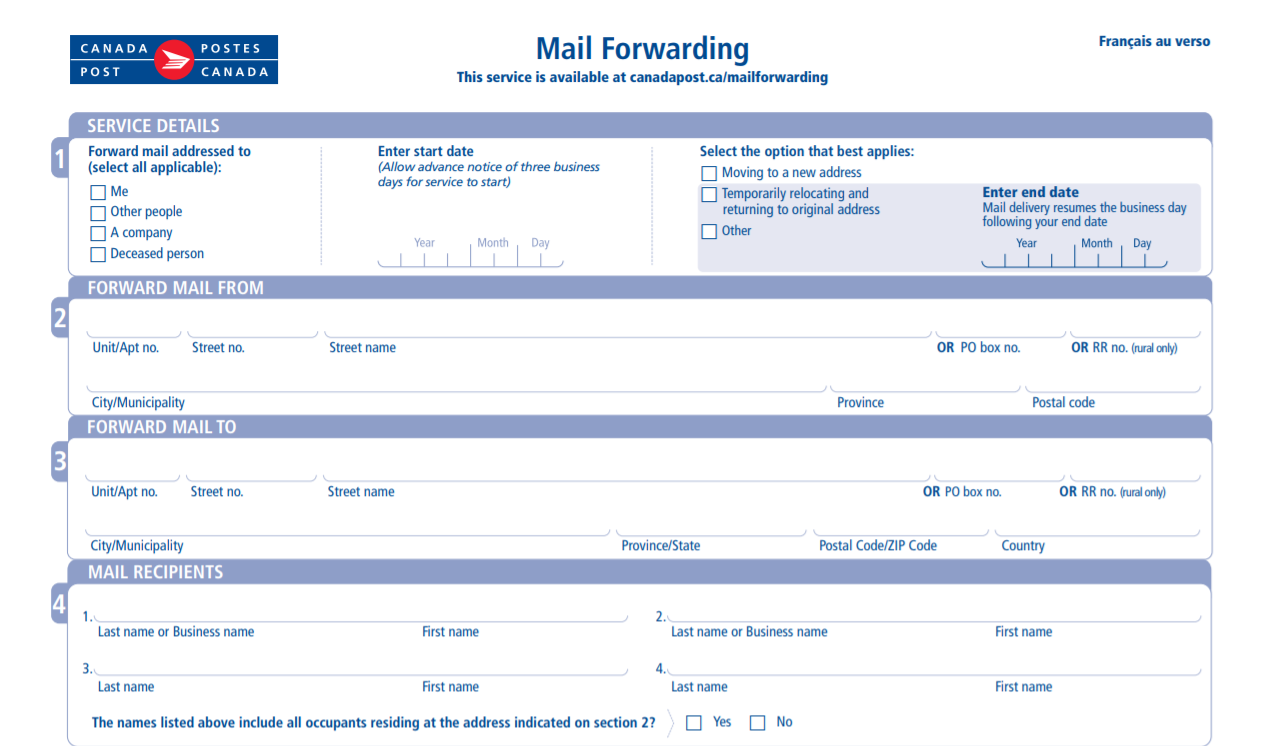 Offline Mail Forwarding Form
