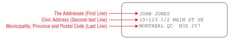 canada mail address format