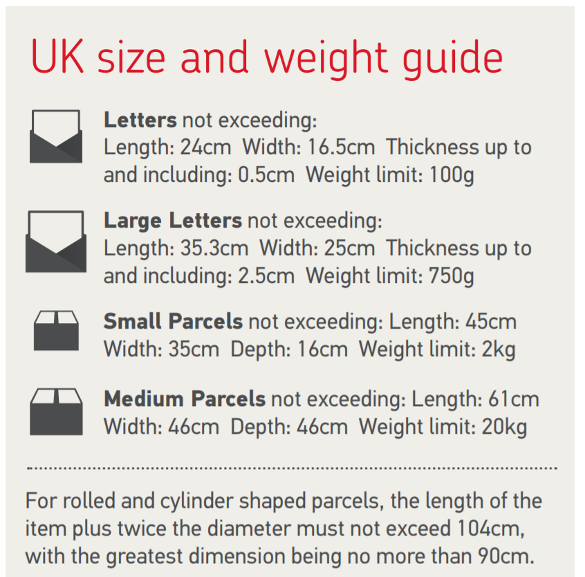 Royal Mail United Kingdom Size and Weight